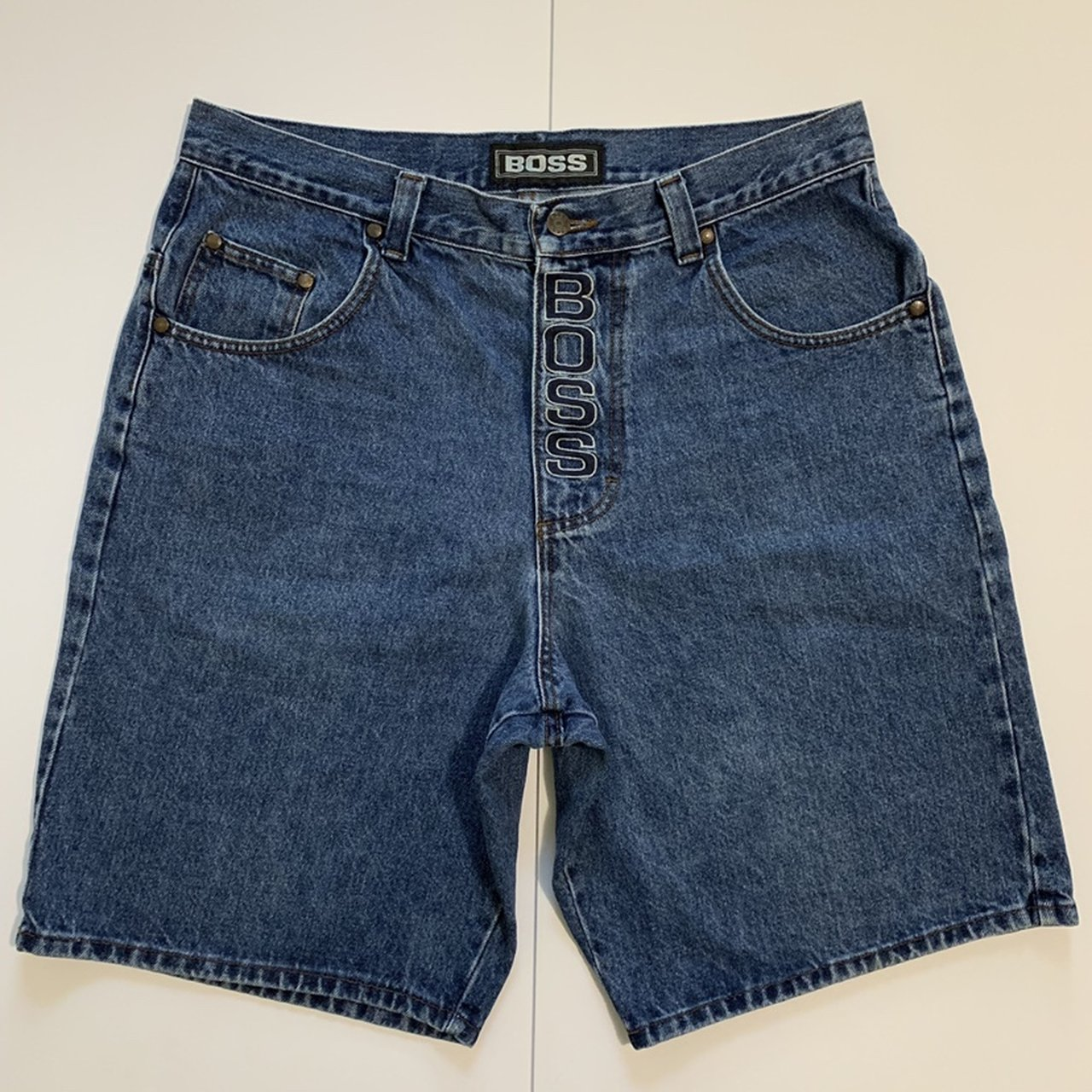 2c257e0ff Vintage 90's BOSS Denim Jean Shorts Size 36 Embroidered on - Depop