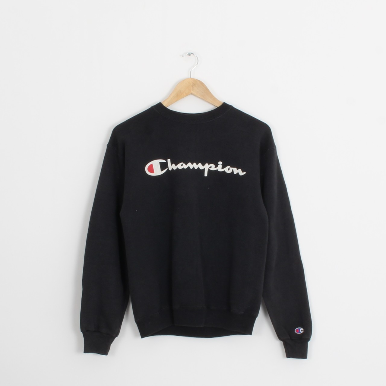 Vintage Black Champion Spell Out Sweatshirt (Vb678) by Depop