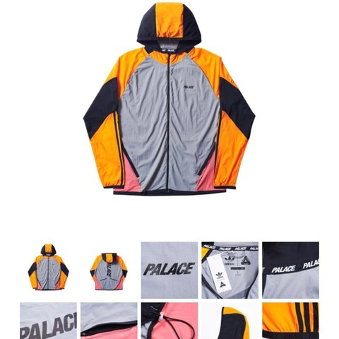 3d768fa1c4a9 Adidas x Palace Hoodie Jacket - Grey   Lucky Orange in New - Depop