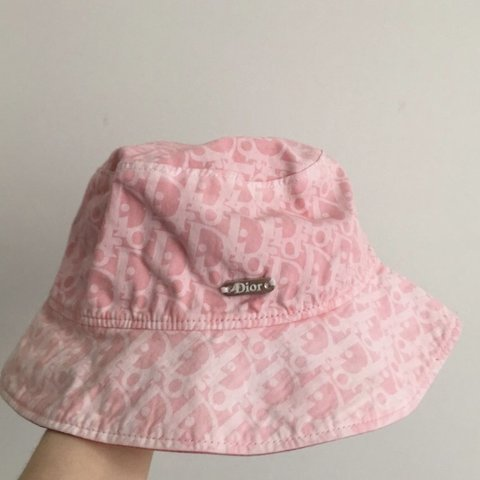 68290a59 @mrakhm. last month. Northbrook, United States. Vintage pink and white  monogramed Christian Dior bucket hat ...
