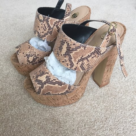 d561bc0a52c0 @93sd. 3 years ago. Newcastle upon Tyne, Tyne and Wear, UK. River island  snake skin print, cork wedges! Size 5.