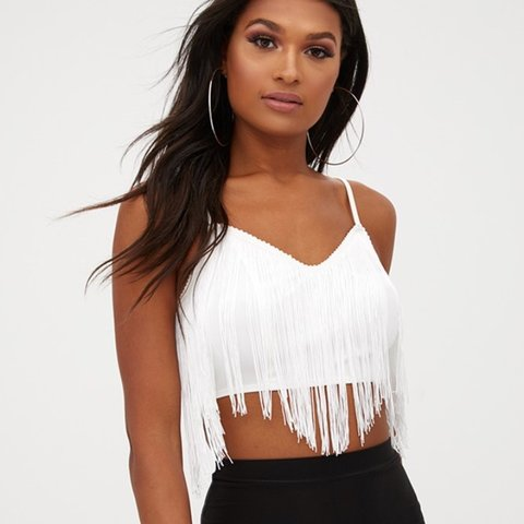 a1d42166acaf4  vjohnson. 9 months ago. United Kingdom. White Tassel Crop Top Size 8 10 •  SMALL • stretchy ...