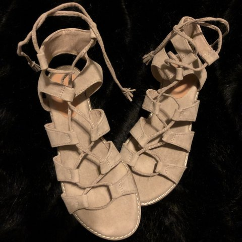 64747e592aea Old Navy women s beige lace-up gladiator sandals