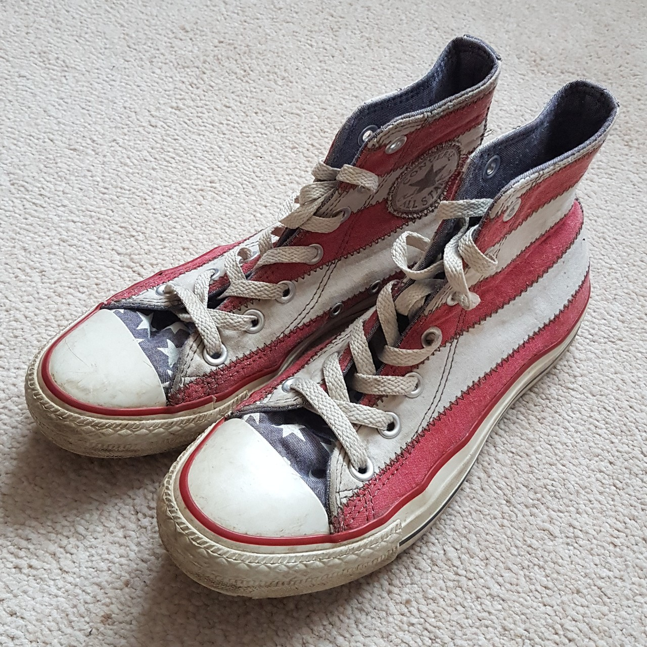 Converse Stars and Stripes Size UK 5 Wear and tear Depop
