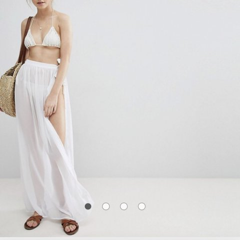 6f410d07dbe1b ASOS white beach chiffon sarong. Beach cover up, mesh skirt. - Depop