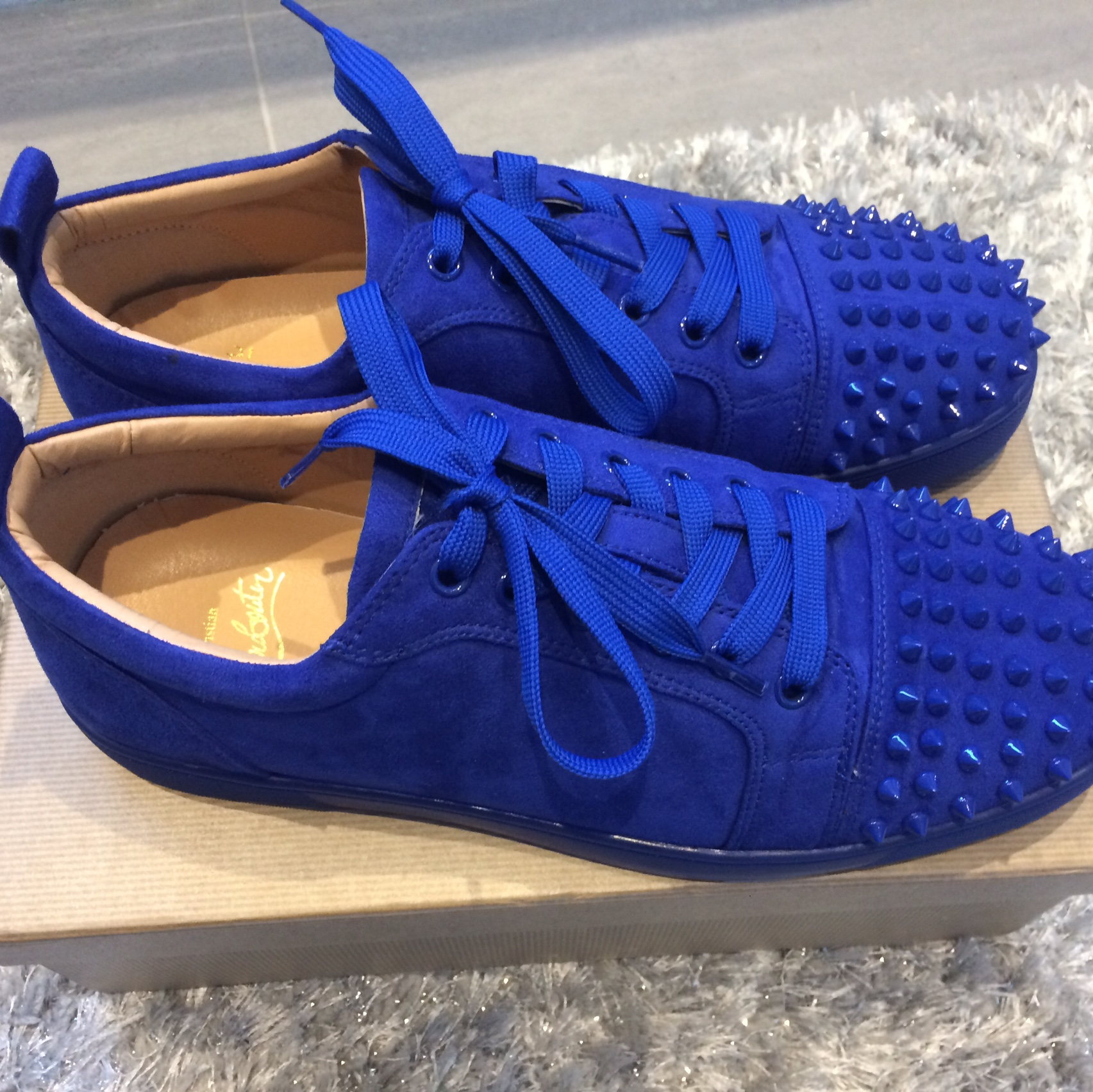 Christian Louboutin Low Top Spikes Blue Bought Depop