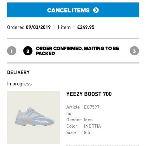 17a03d731 ADIDAS YEEZY BOOST 700 INERTIA UK SIZE 8.5. (Also selling uk - Depop