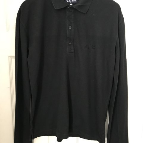 9734d59e7 @mykalah85. 2 months ago. Blackburn, United Kingdom. Armani Jeans, black, long  sleeve Polo shirt. Size XL.