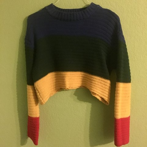 a14724f547d @lightshoe. last year. Fort Worth, United States. Rainbow Sweater  Color-block Crop Top {cut ...