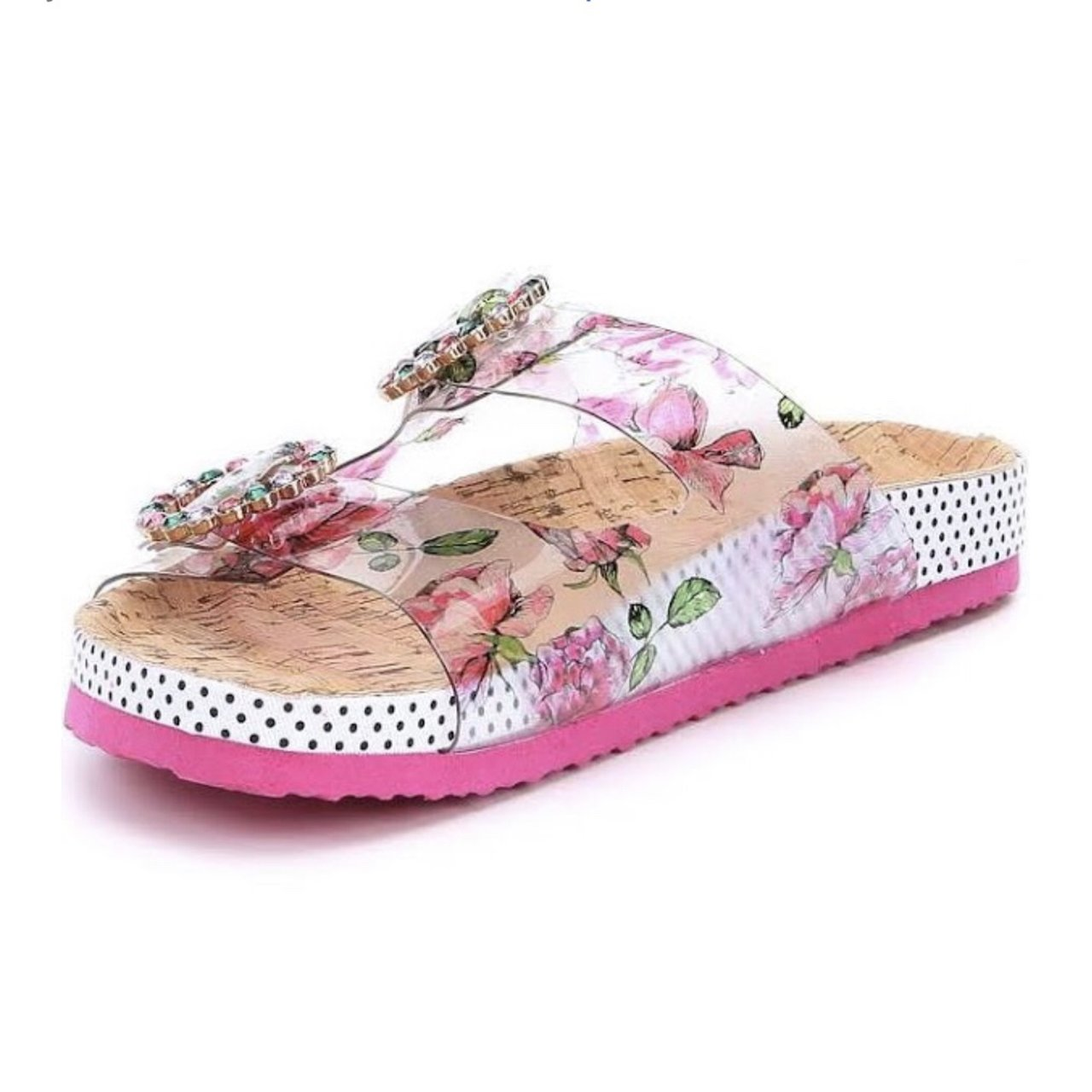 2b701cca6e8e New never worn Betsy Johnson clear floral print slide into - Depop