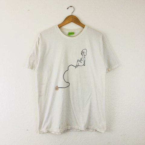 "7a8f9fa7 Vintage HUF White T-shirt. Playful screen print with minor "" - Depop"