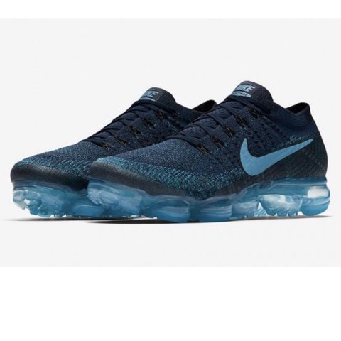 32319cf34a71 Men s Nike Air VaporMax Flyknit College Navy Ice Light Blue - Depop