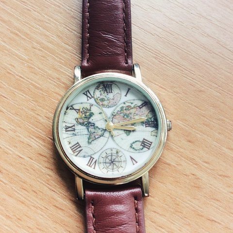 Urban Outfitters World Map Watch.Urban Outfitters World Map Watch Perfect Condition Offers Depop