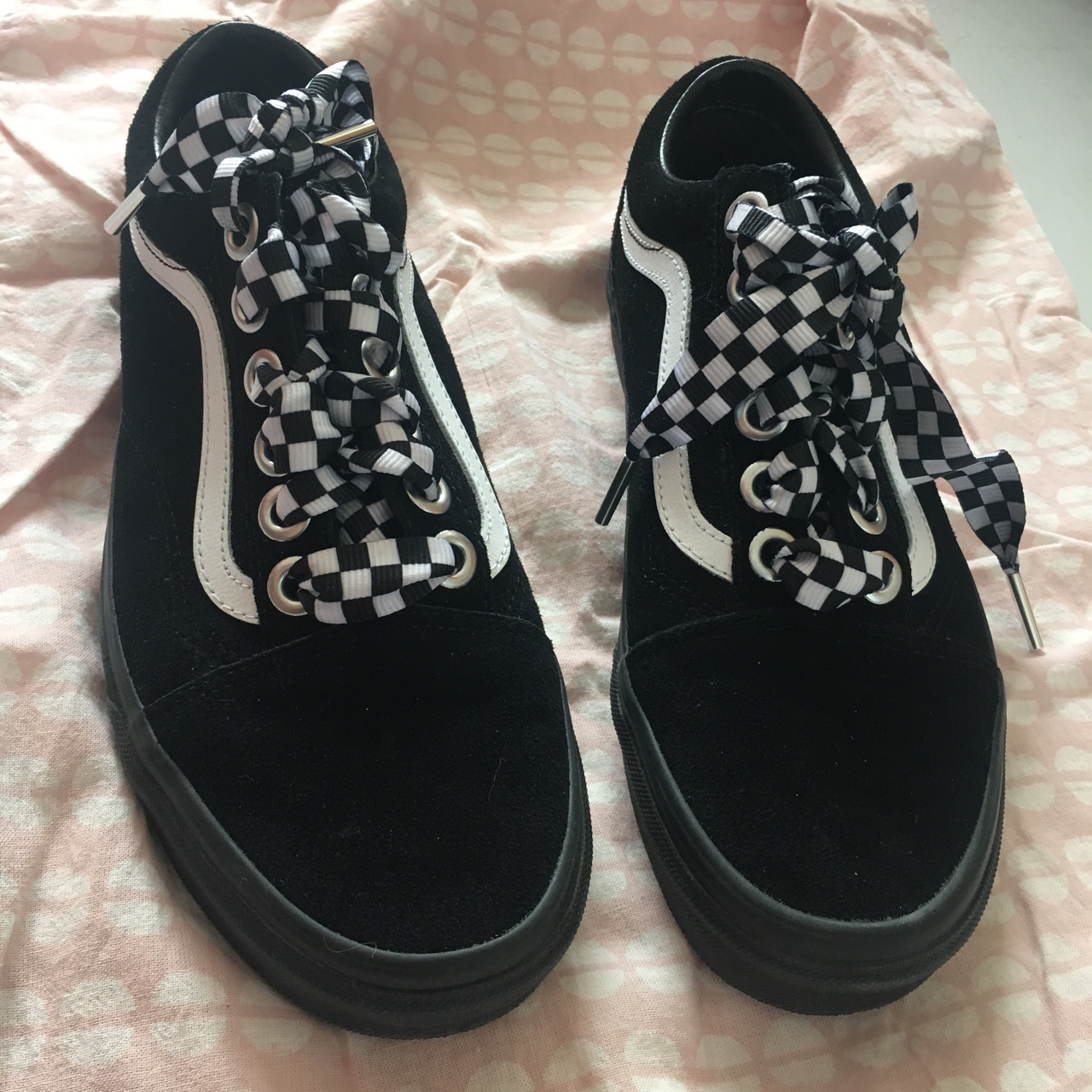 black and white checkered vans laced