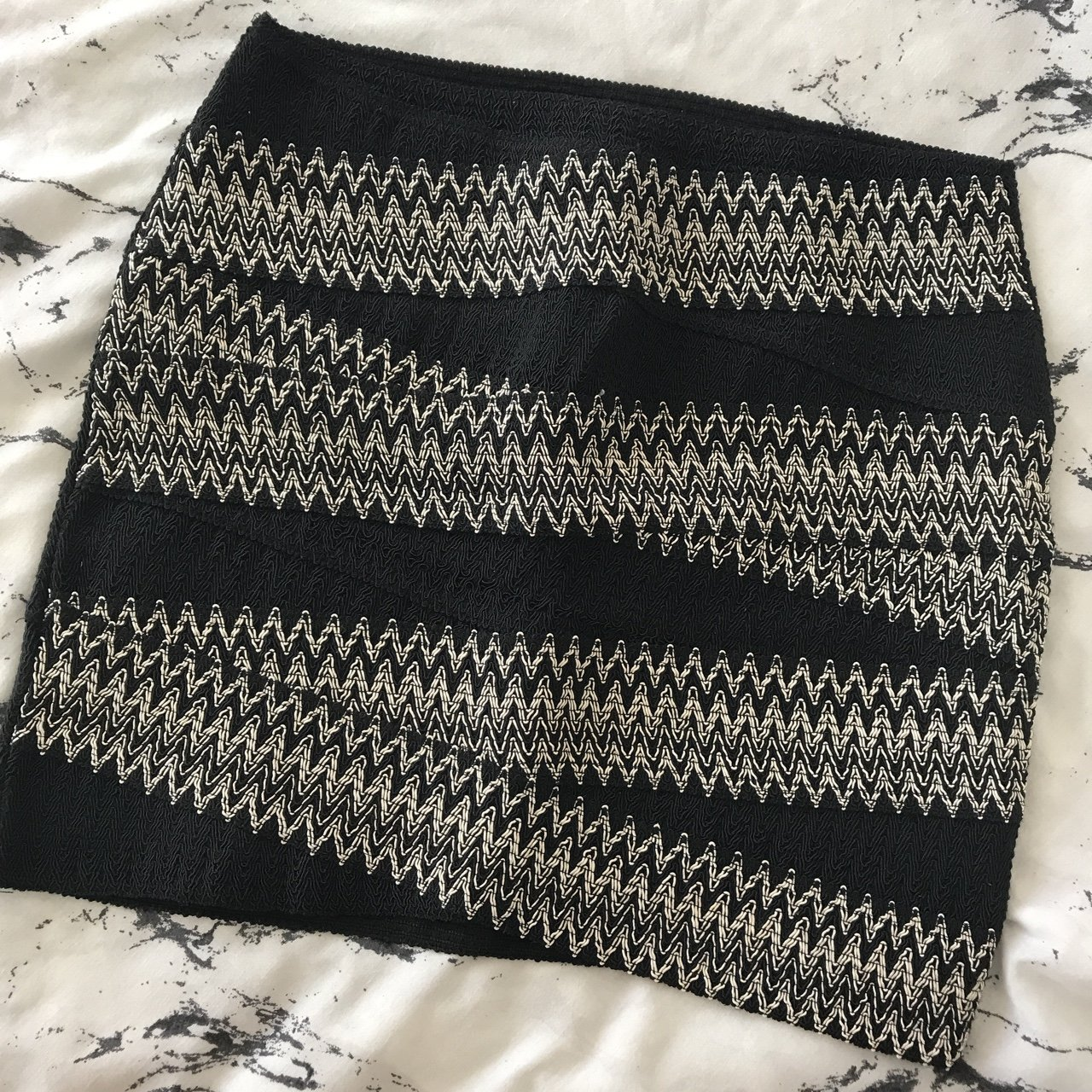 53790d49c4 @charlottebrincat. last year. Chatham, United Kingdom. H&M black and white  patterned body con skirt. Excellent condition. Size M.