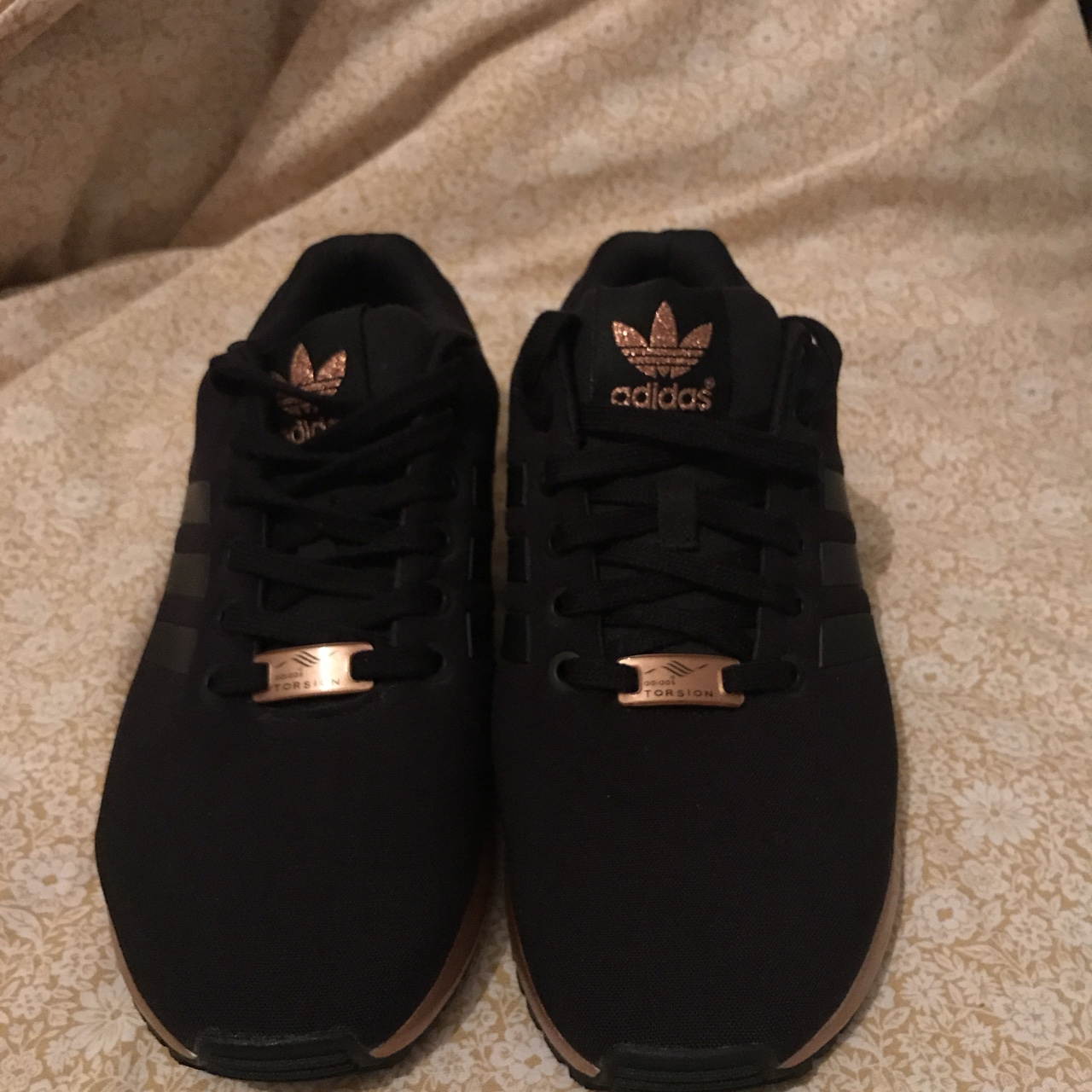 thoughts on low price timeless design Adidas Originals ZX Flux Black and Rose Gold Never Depop