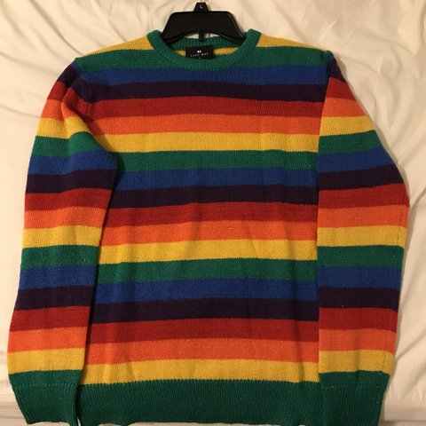 bee7457c685 Lazy Oaf glitter rainbow jumper in size small. Worn once. (I - Depop