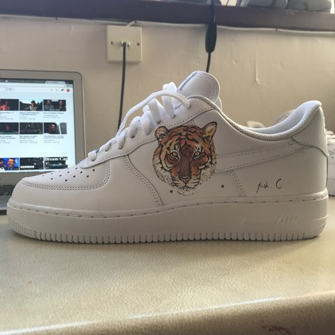 46fb04faaba Nike Air Force 1 Hand painted tiger custom Any size allow - Depop