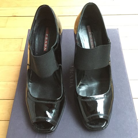 155ca4496c @bitchy. 3 years ago. Ireland. Prada black patent wedges. Size 37 1/2 .