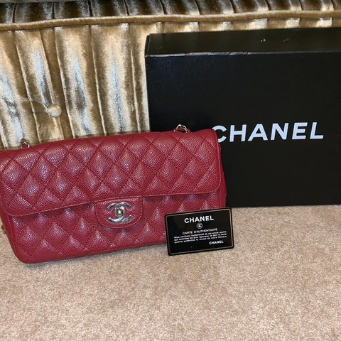 4bd33f51f47c Chanel classic single flap bag Deep red caviar leather good - Depop
