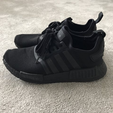 bf145ac6a Adidas    NMD R1 black    size 7    worn a few times    good - Depop