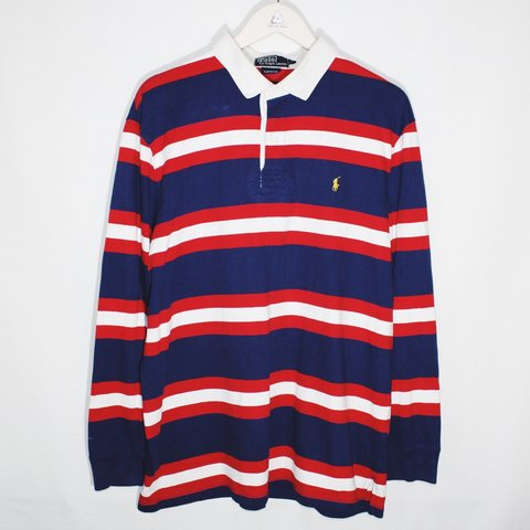 711906af3bb ... release date vintage ralph lauren polo sport striped rugby style polo  depop ebb60 0e704