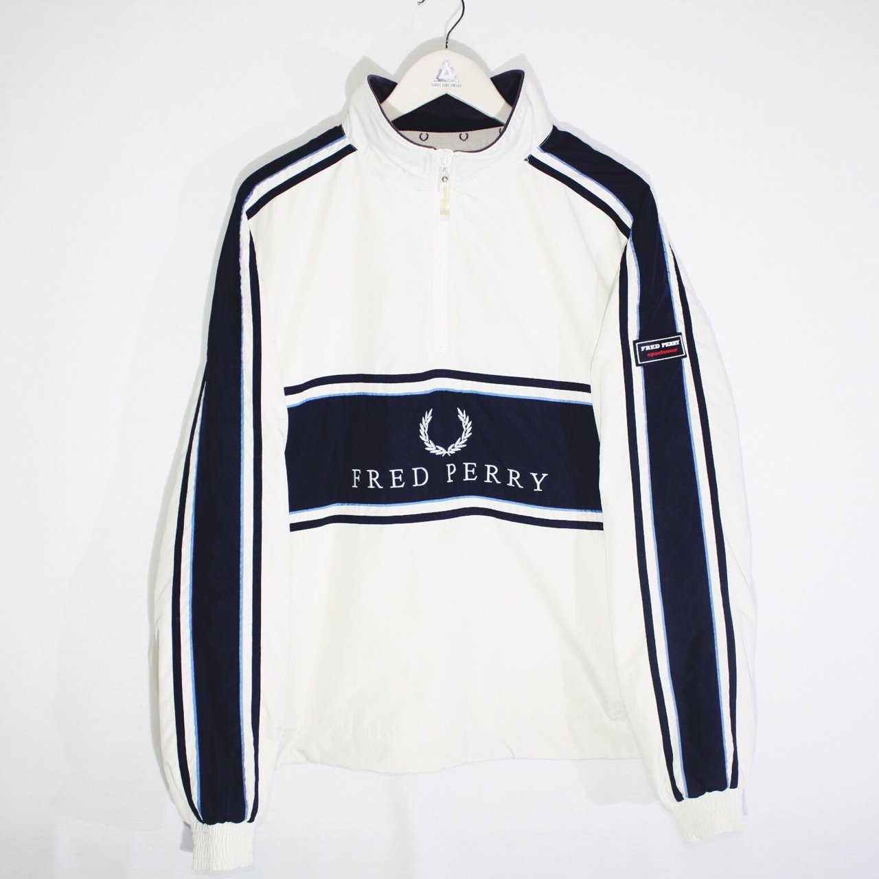 c718e987c579 Vintage Fred Perry Cream   Navy Blue Pullover 1 4 Quarter - - Depop