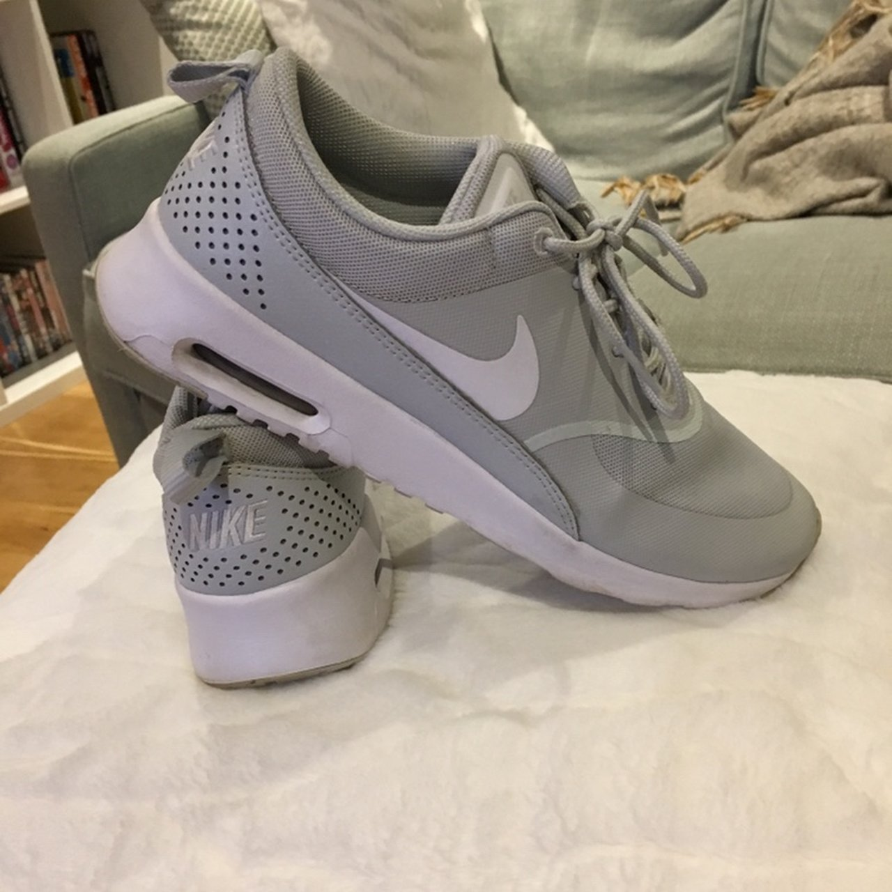 02ce9756453 Grey ladies Nike trainers worn a couple of times. Size 6.5. - Depop