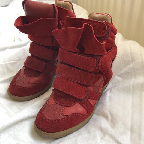 8bdc37f306 @jrren90. 6 hours ago. London, United Kingdom. ISABEL MARANT RED WEDGE  TRAINERS Good condition. Dry mud ...