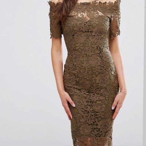 86fffcecbd99 Paper doll khaki green lace off the shoulder fitted dress
