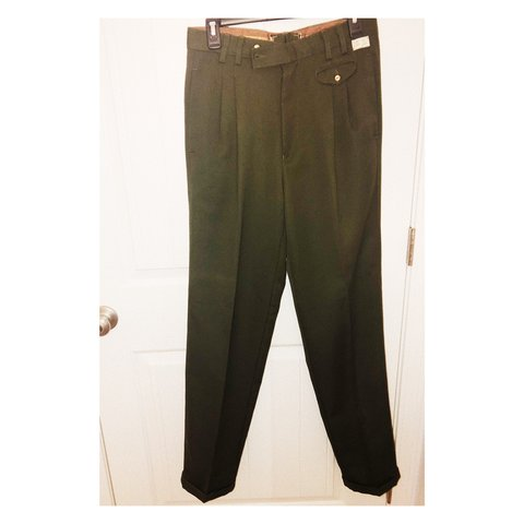 Retro Olive Green High Waist Trousers Mens Excellent Off 40 Depop