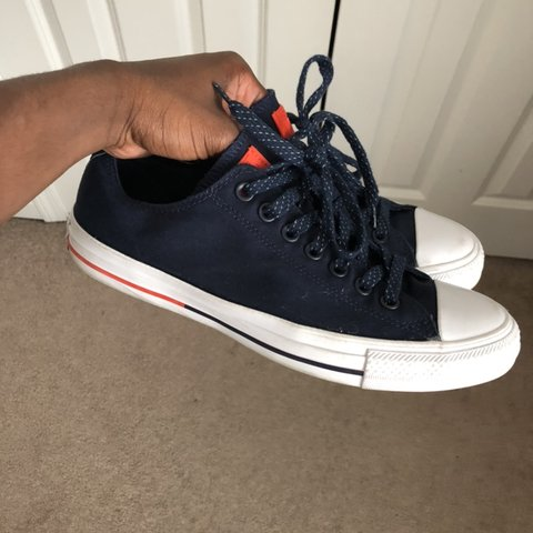 08ce7968ab8b15 Basically Brand new pair of navy blue and white low top Worn - Depop