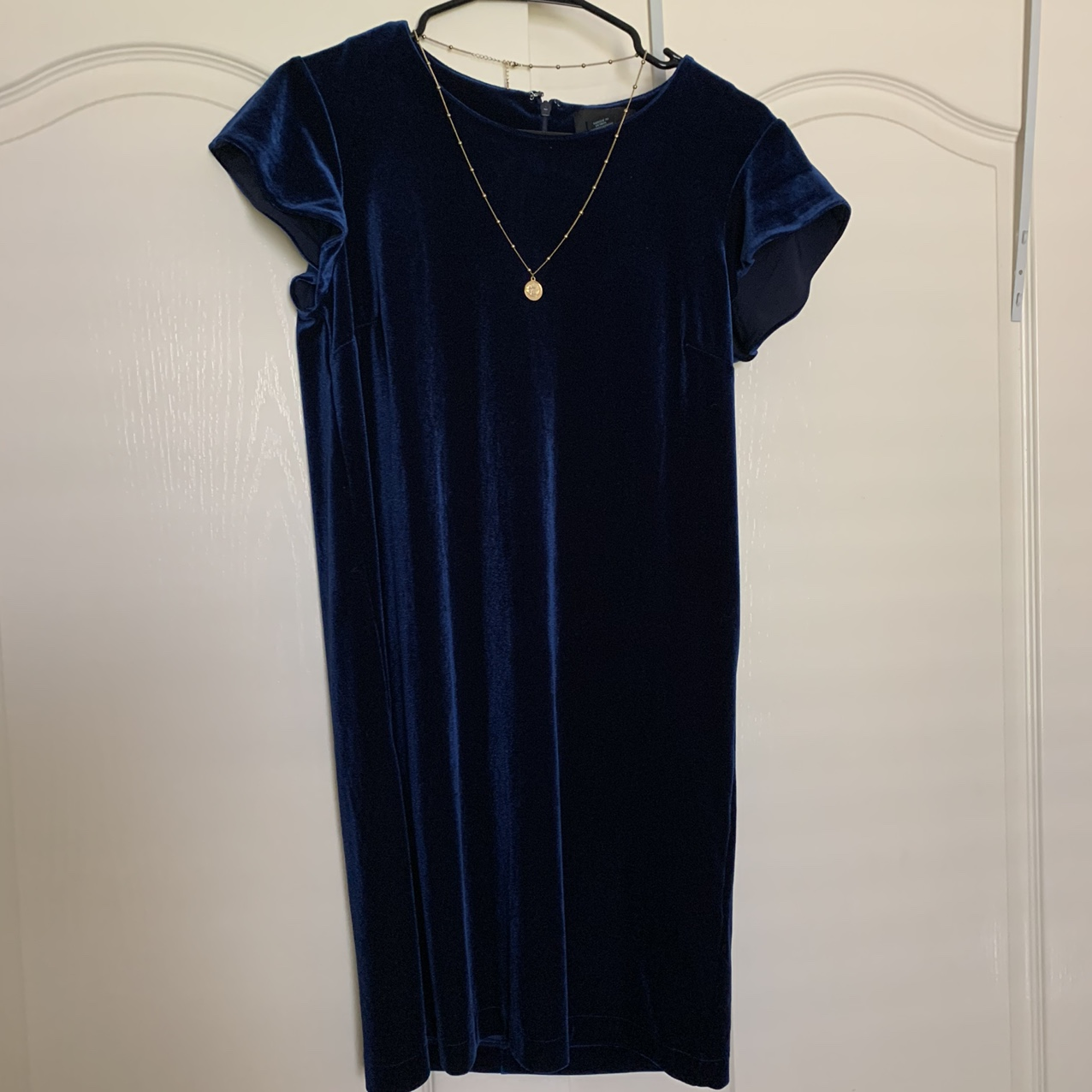 Royal Navy Dark Blue Y2k Velvet Dress Super Depop