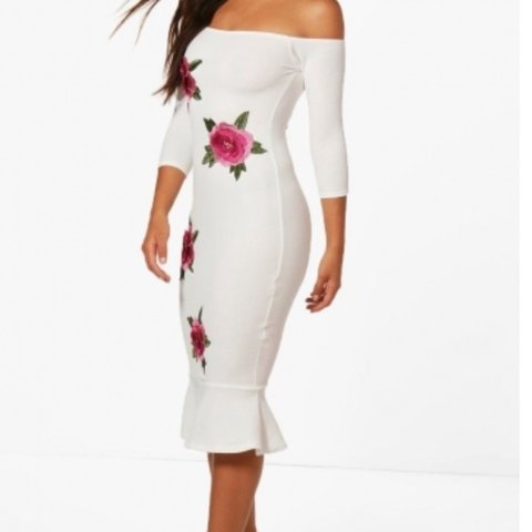 0277bde7f5d8 @sextance. last year. Corscombe, United Kingdom. 🌟RESERVED🌟Boohoo floral  appliqué off the shoulder dress ...