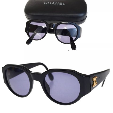 af5536023e3388 Chanel CC Logos Sunglasses Black Gold New items are added I - Depop