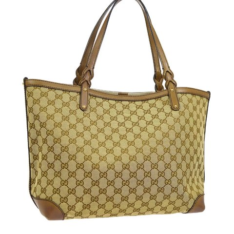 ee4a9f705 @expressvint. 2 months ago. Trabuco Canyon, United States. Authentic Gucci  GG Pattern Shoulder Tote Bag Brown Canvas Leather.