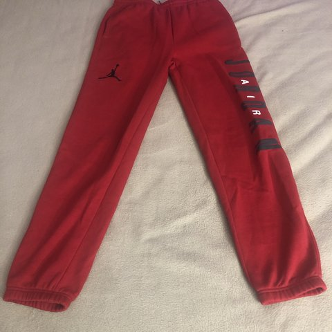 f74e34bcda3c44 red jordan sweatpants size xl kids or size s xs women worn - Depop