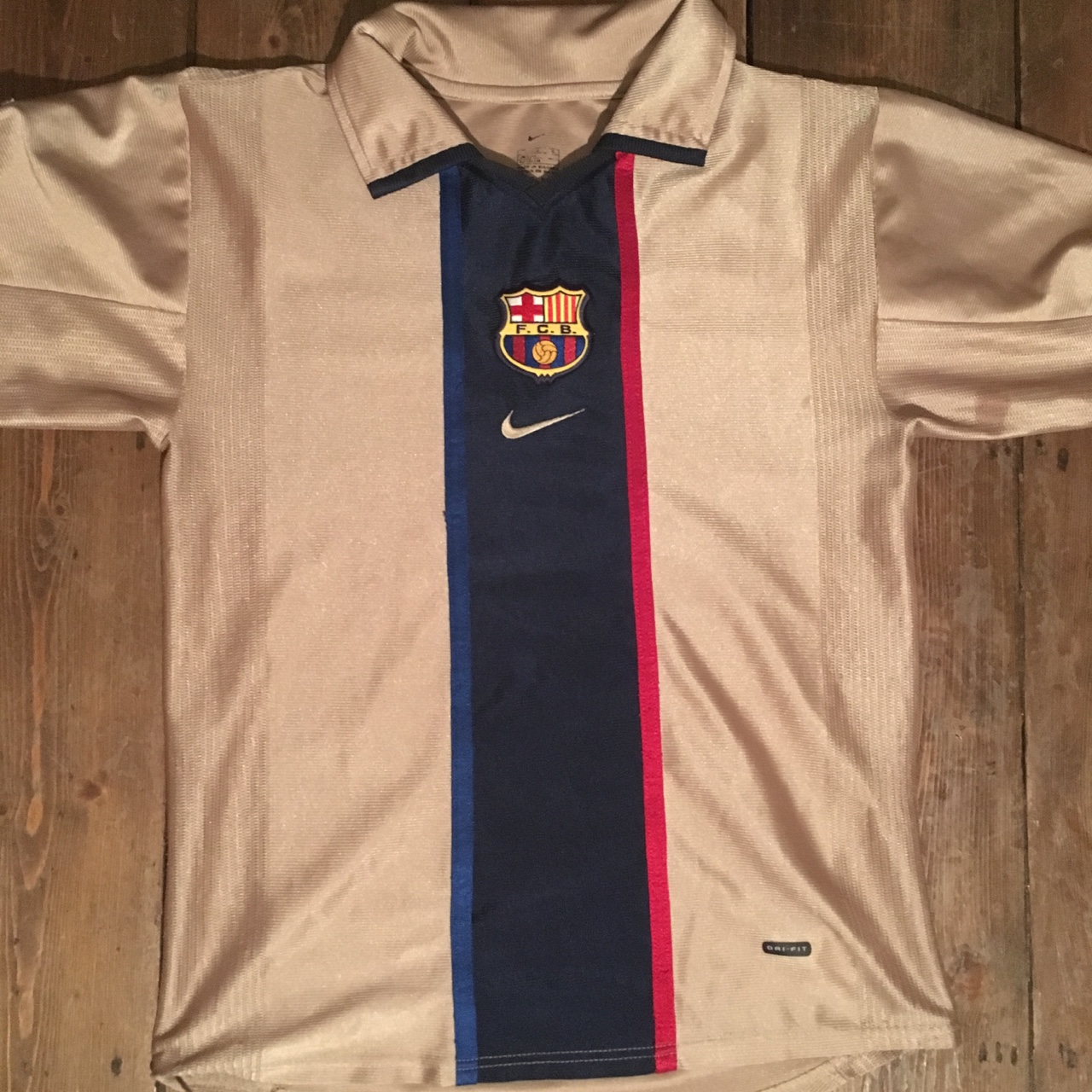 new product ae07c db983 Barcelona Away Kit 2001 - 2002 - 2003 | Gold, Blue... - Depop