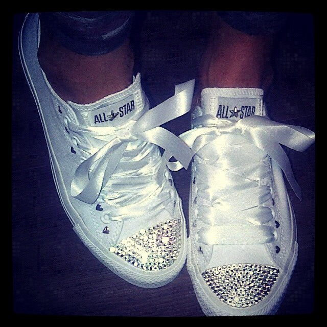 bdae64820 Leather converse with swarovski crystal and ribbon laces - Depop