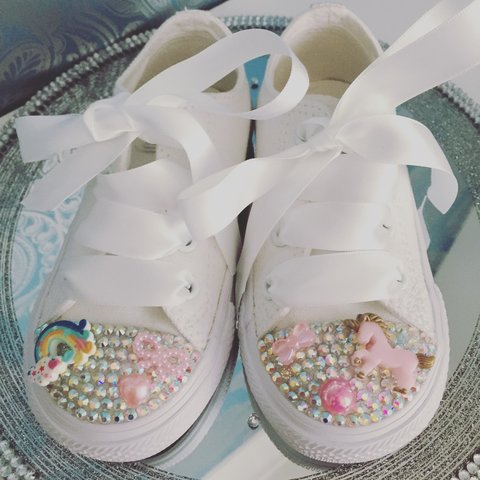 bbb96cac3dad Unicorn crystal converse. Available in sizes 2 toddler - 2 - Depop