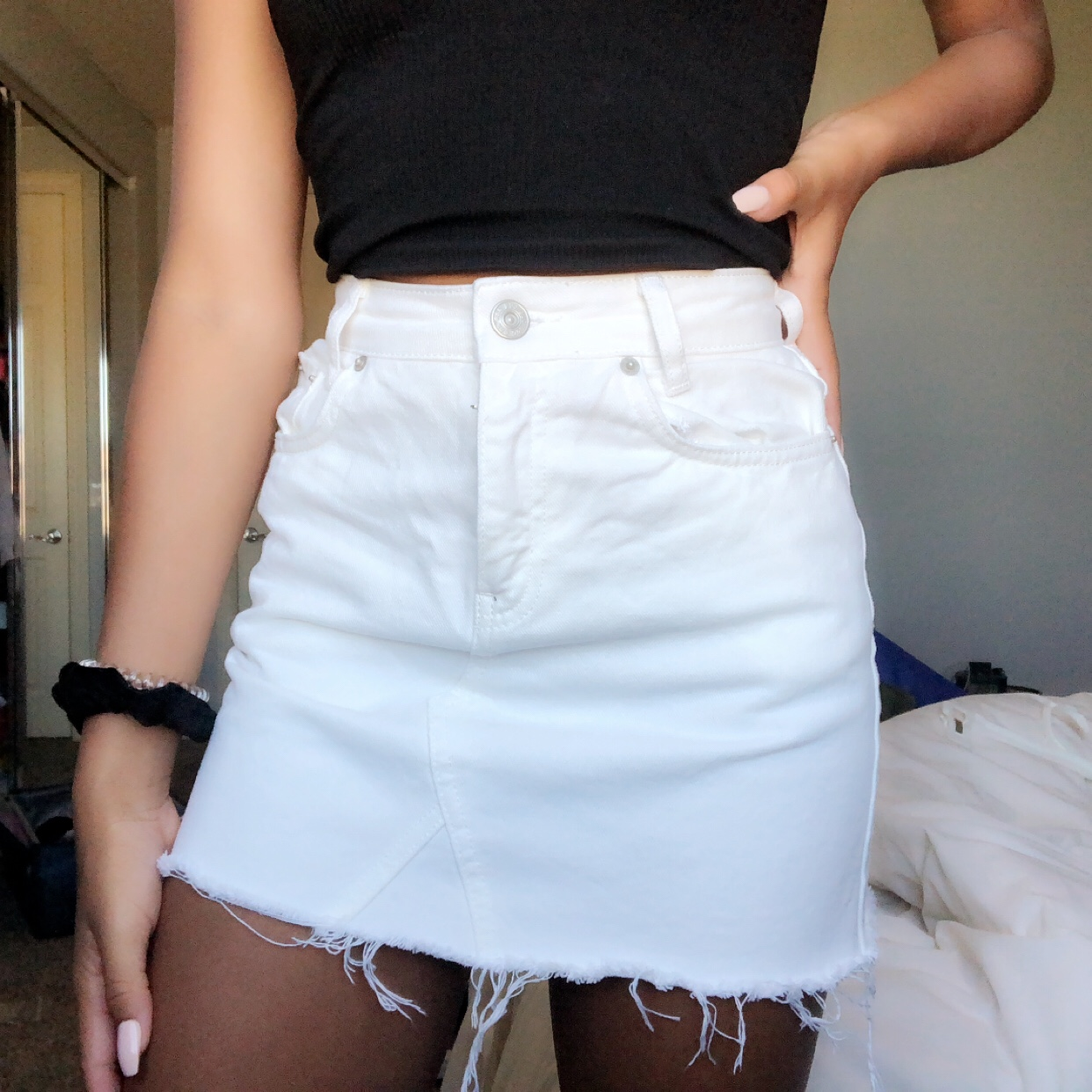 new style & luxury 2018 sneakers 2019 best urban outfitters bdg White denim skirt •size... - Depop