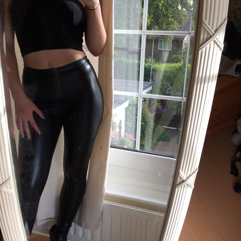 2ee4b9434f6d7 @ninaproffitt. 2 years ago. Brighton, United Kingdom. Black tights leather  look/ wet look leggings. From pretty little thing.