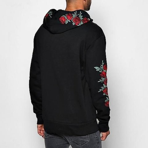9c070cefe3a241 Boohoo men's black rose embroidered hoodie Size L but would - Depop