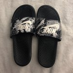 f4b2aab66 Nile slides. Cute floral Nike slides worn a few times over - Depop