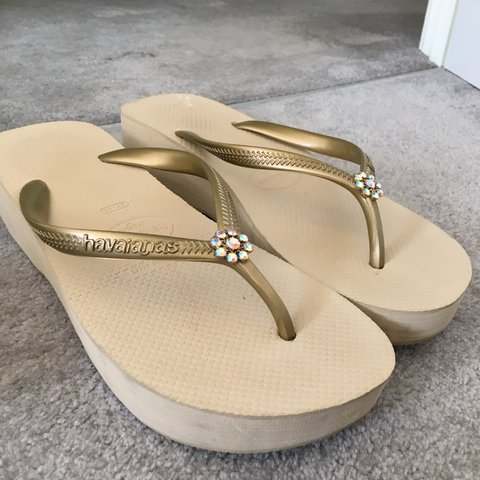 8ef8f84a7cf Havaianas wedge flip flops. Pale gold. Only worn once. Size - Depop