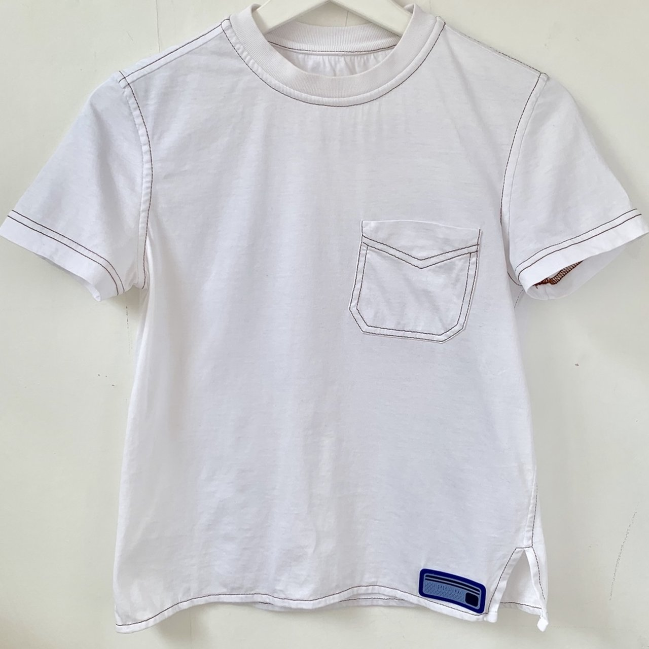 dd0825a60 Amazing AUTHENTIC vintage PRADA t-shirt with blue rubber and - Depop
