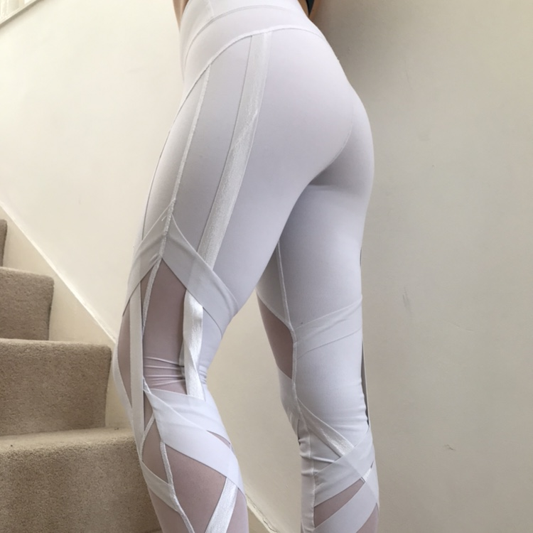 Alo Yoga White Leggings Mesh With Ribbons Size S Depop