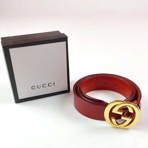 """bed3fea1a New Gucci Belt Size 38"""" - Fits a size 33""""-38"""" - Red leather - Depop"""