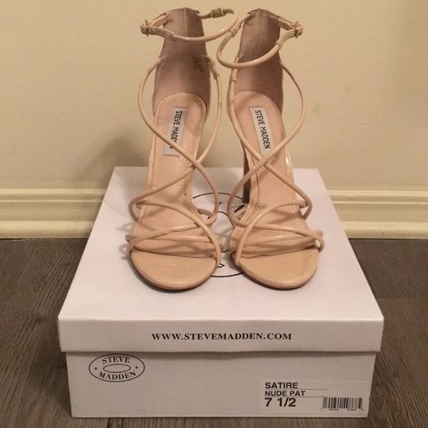 306b71bef46 Steve Madden Satire Sandals in nude patent leather - Depop