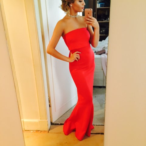 Reduced Asos Scuba Fishtail Formal Dress Worn Once To Depop